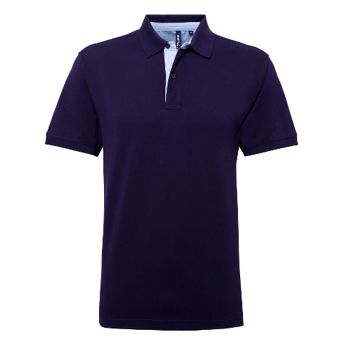 Asquith Fox Cotton Polo With Oxford Fabric Insert NavySky Blue
